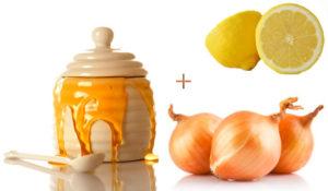 Мед, белый лук, лимон